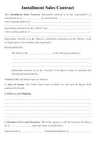 """Installment Sales Contract Template"""