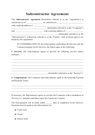 """Subcontractor Agreement Template"""