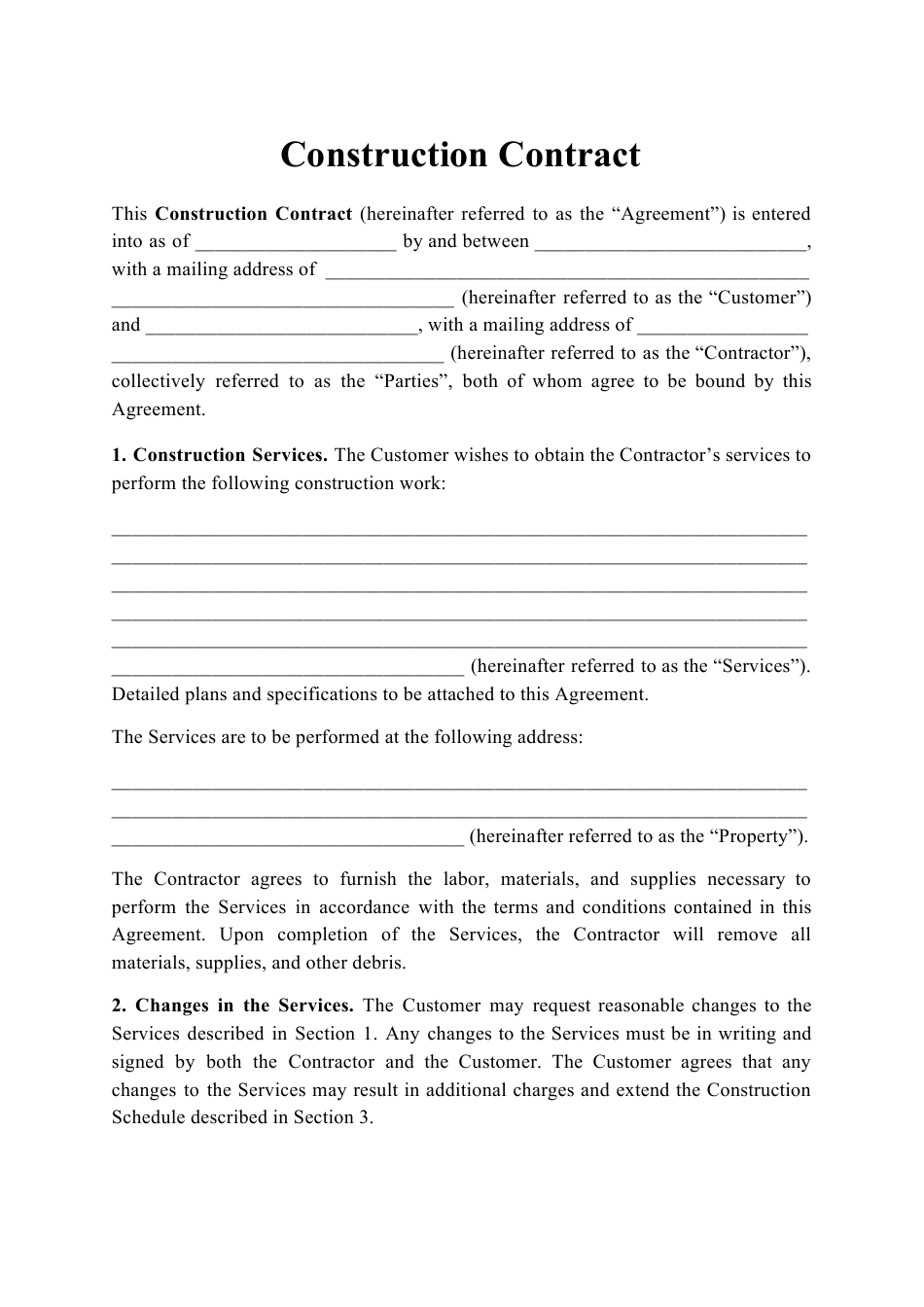 construction contract template printable pdf