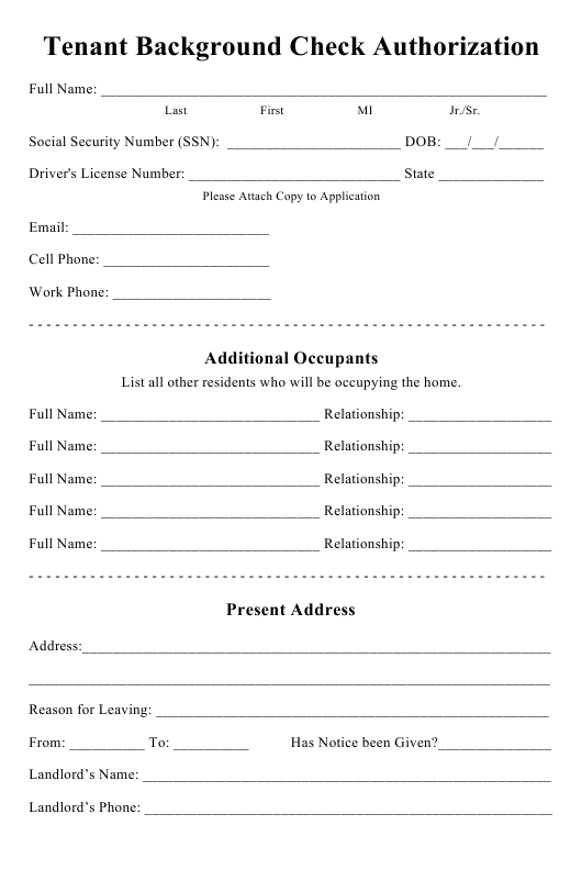 """Tenant Background Check Form"" Download Pdf"