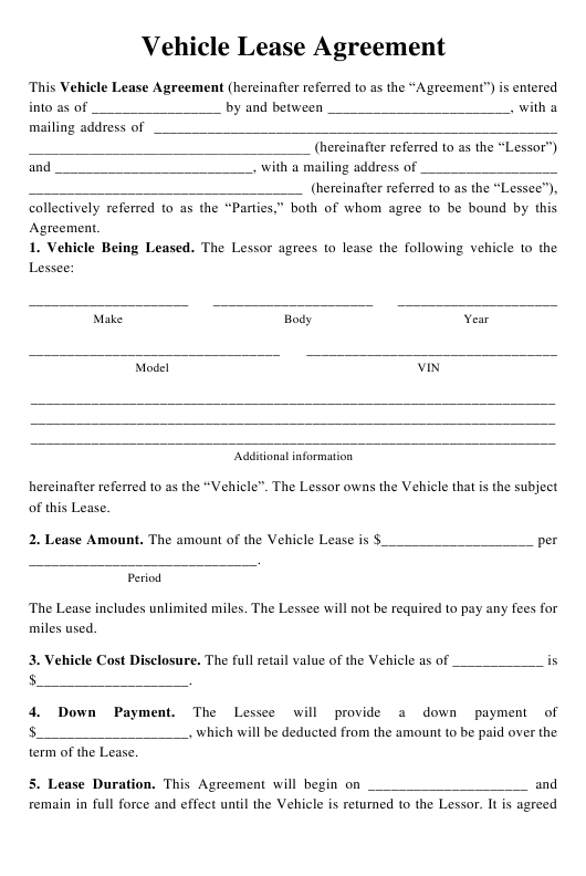 """""""Vehicle Lease Agreement Template"""" Download Pdf"""