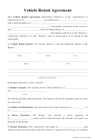 """Vehicle Rental Agreement Template"""