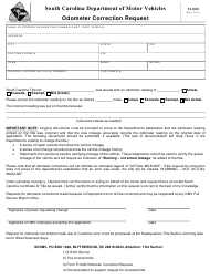 "Form TI-008 ""Odometer Correction Request"" - South Carolina"