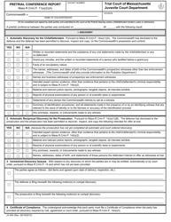 "Form JV-004 ""Pretrial Conference Report"" - Massachusetts"