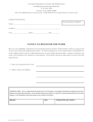 "Form B-569 ""Notice to Register for Work"" - Colorado"
