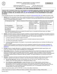 "Form PS31091 ""Rehabilitation Requirements"" - Minnesota"