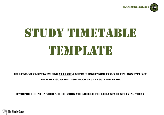 """Study Timetable Template - the Study Gurus"" Download Pdf"