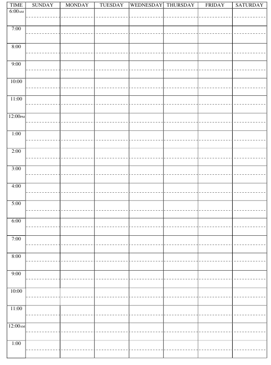 Weekly-Hourly Study Schedule Template Download Pdf