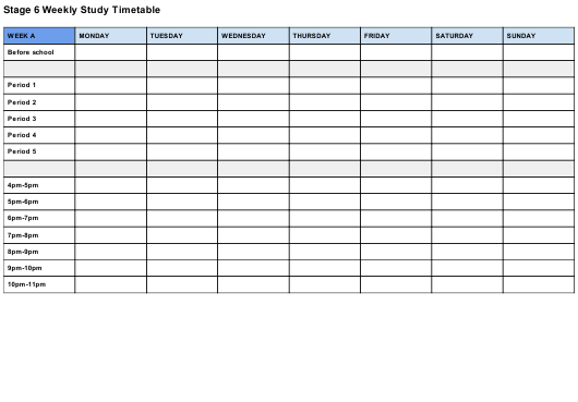"""Weekly Study Timetable Template"" Download Pdf"