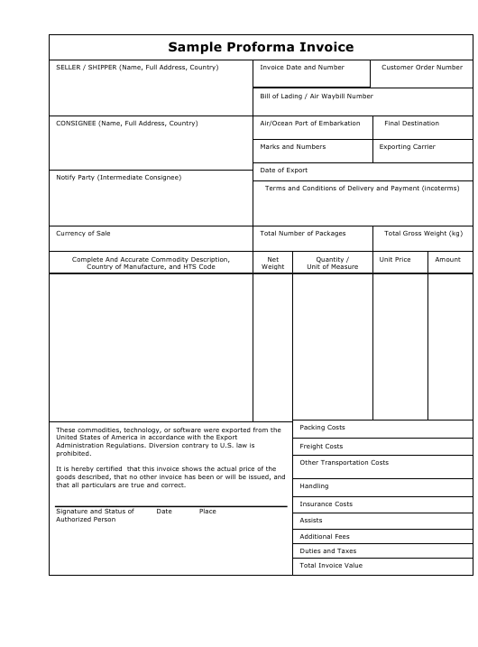 Sample Proforma Invoice Template Download Pdf