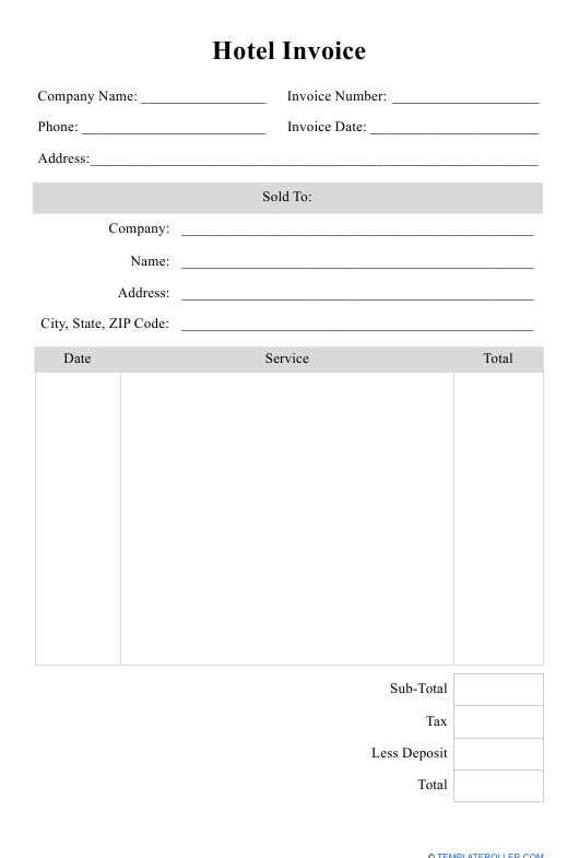 """Hotel Invoice Template"" Download Pdf"