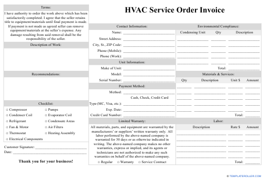 Hvac Service Order Invoice Template Download Fillable Pdf Templateroller