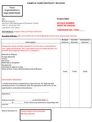 "Sample ""Subcontract Invoice"""