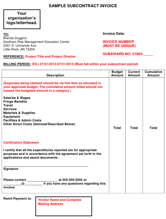 "Sample ""Subcontract Invoice"" Download Pdf"