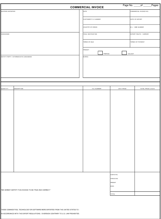 Commercial Invoice Template Download Pdf