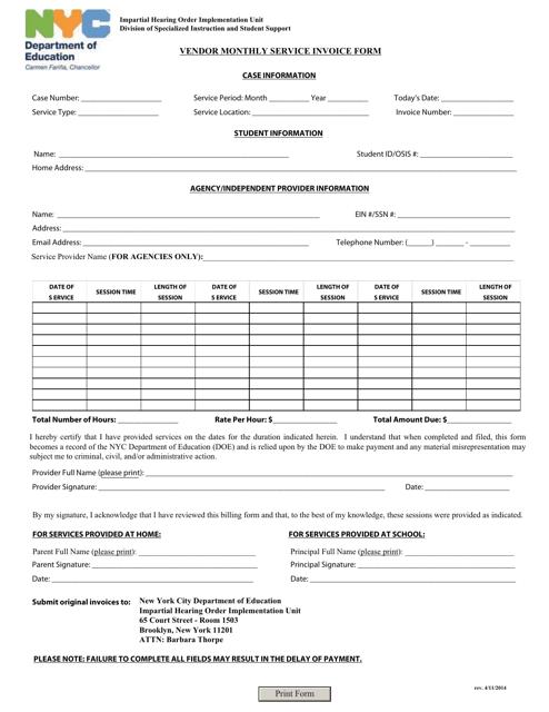 Vendor Monthly Service Invoice Form - New York, New York Download Pdf