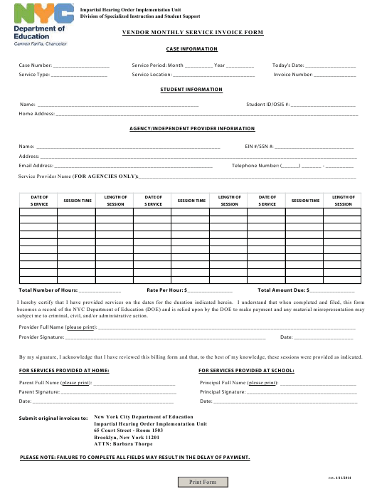 """Vendor Monthly Service Invoice Form"" - New York, New York Download Pdf"