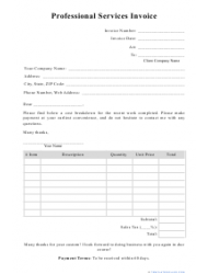 Sample Professional Services Invoice Template