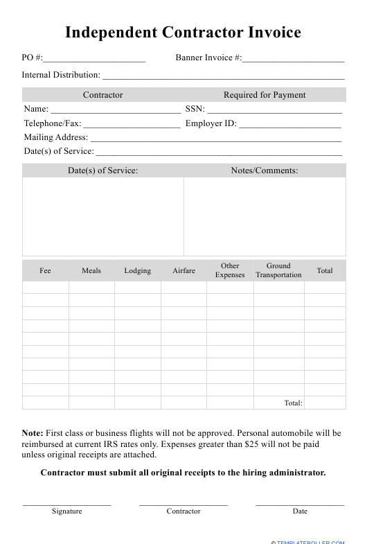 """Independent Contractor Invoice Template"" Download Pdf"