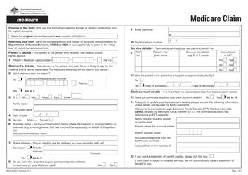 "Form MS014.1607 ""Medicare Claim"" - Australia"