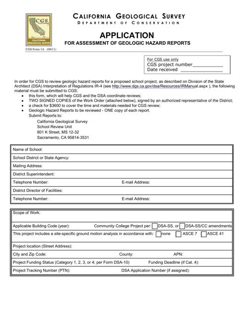 Form CGS1A  Printable Pdf