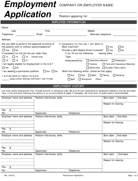 Employment Application Form Download Pdf