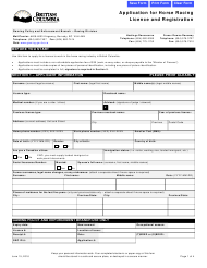 """Application for Horse Racing Licence and Registration"" - British Columbia, Canada"