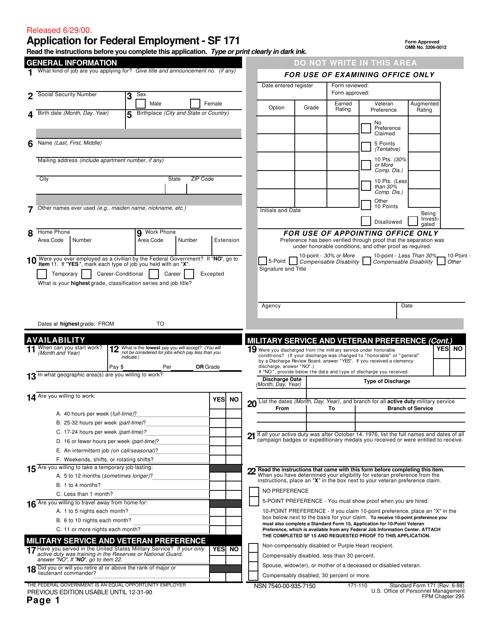 Form SF171  Printable Pdf
