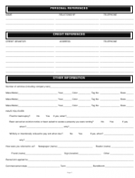 """Rental/Credit Application Form"", Page 2"