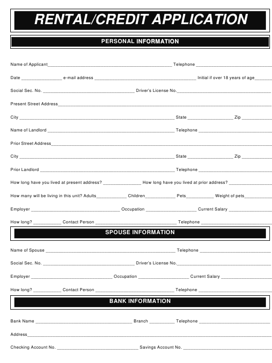 Rental/Credit Application Form Download Pdf