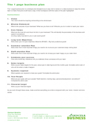 """One Page Business Plan Template"", Page 4"