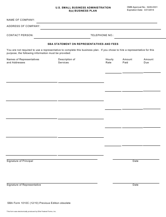 SBA Form 1010C Printable Pdf