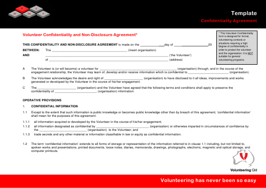 """Volunteer Confidentiality and Non-disclosure Agreement Template - Volunteering Qld"" Download Pdf"