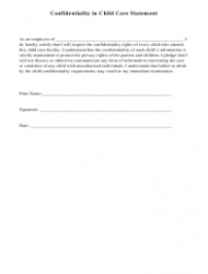Confidentiality in Child Care Statement Template