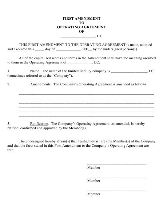 """First Amendment to Operating Agreement Template"" Download Pdf"