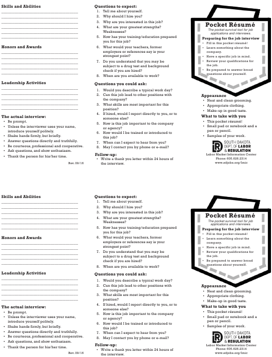"""Pocket Resume Template"" - South Dakota Download Pdf"