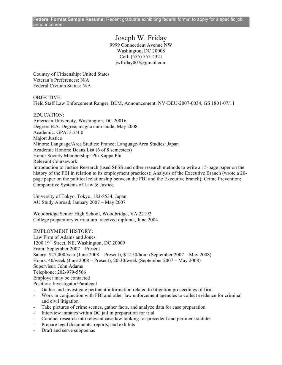 sample federal format resume download printable pdf