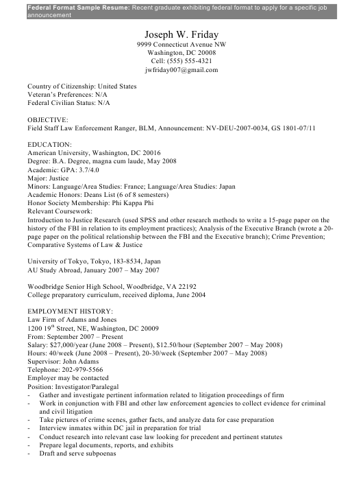 Sample Federal Format Resume Download Pdf