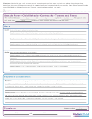 Sample Parent-Child Behavior Contract for Tweens and Teens