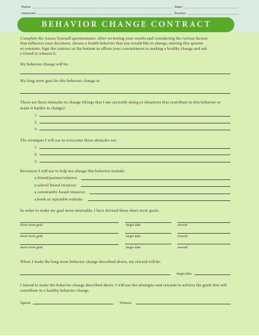 """Behavior Change Contract Template"" Download Pdf"