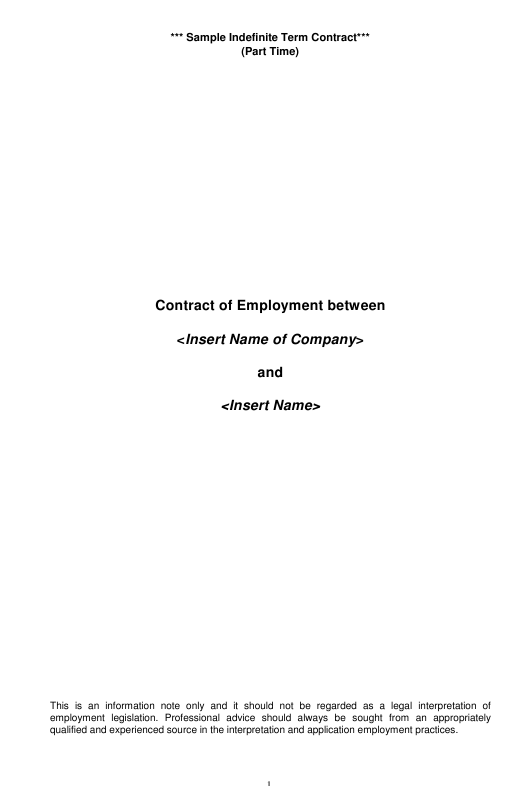 Sample Indefinite Term Employment Contract Template Download Pdf