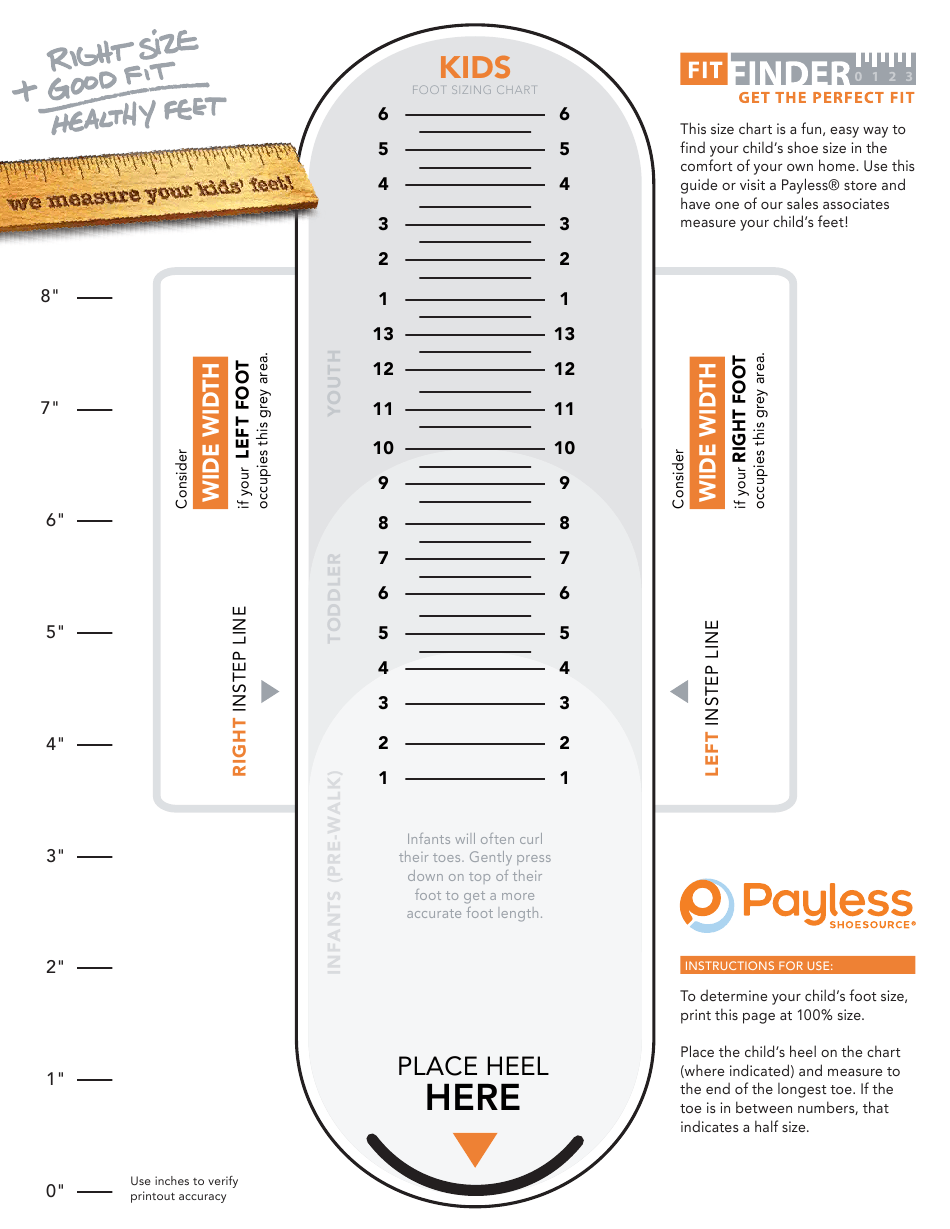 Payless Shoesource Kids Foot Sizing Chart Download Printable Pdf Templateroller