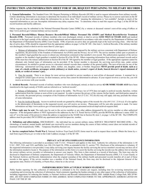 GSA Form SF-180 Printable Pdf