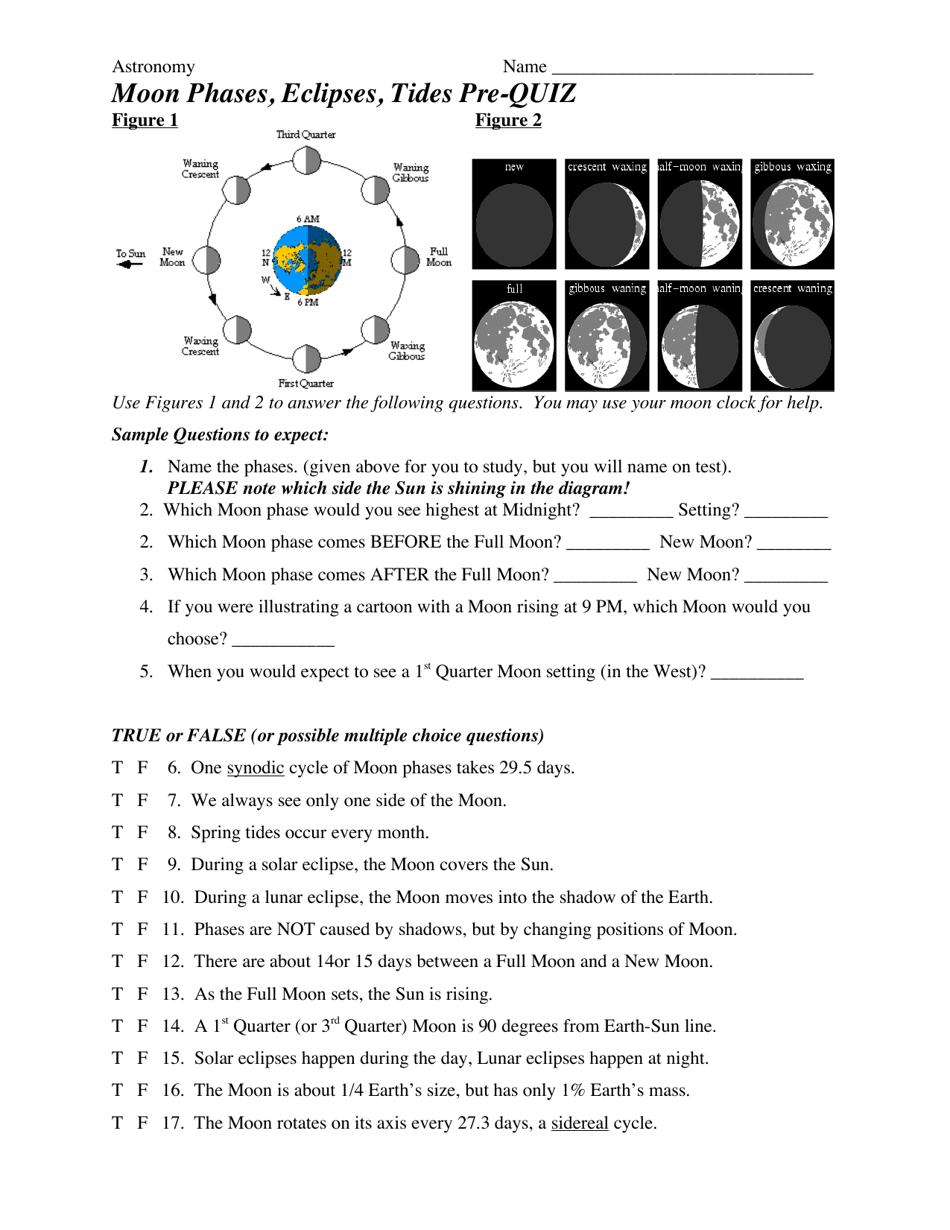 Moon Phases, Eclipses, Tides Pre-quiz Worksheet Download Printable In Moon Phases Worksheet Pdf