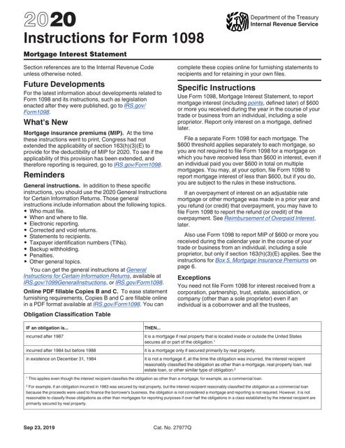 IRS Form 1098 2020 Printable Pdf