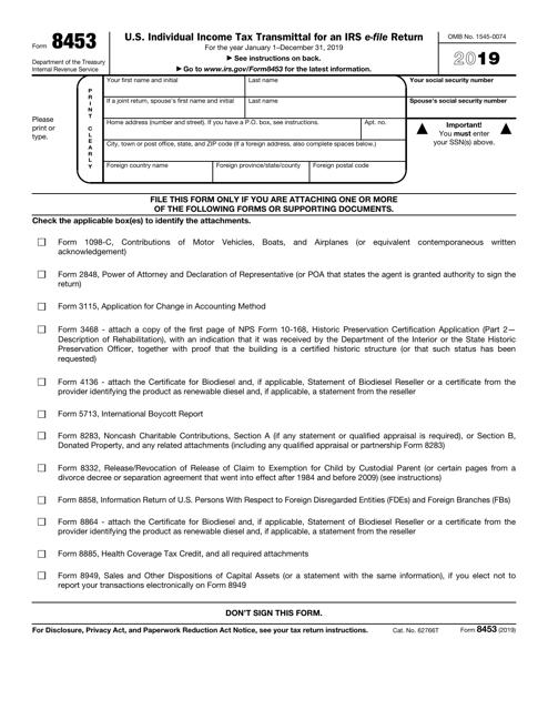 IRS Form 8453 2019 Printable Pdf