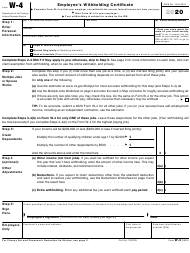 "IRS Form W-4 ""Employee's Withholding Certificate"", 2020"
