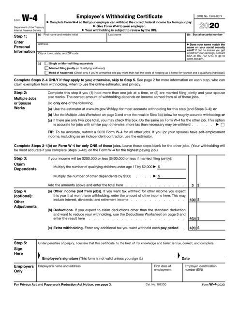 IRS Form W-4 2020 Printable Pdf
