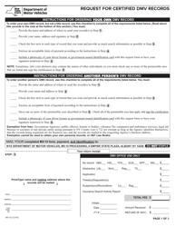 "Form MV-15 ""Request for Certified DMV Records"" - California"