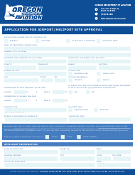 """""""Application for Airport/Heliport Site Approval"""" - Oregon"""